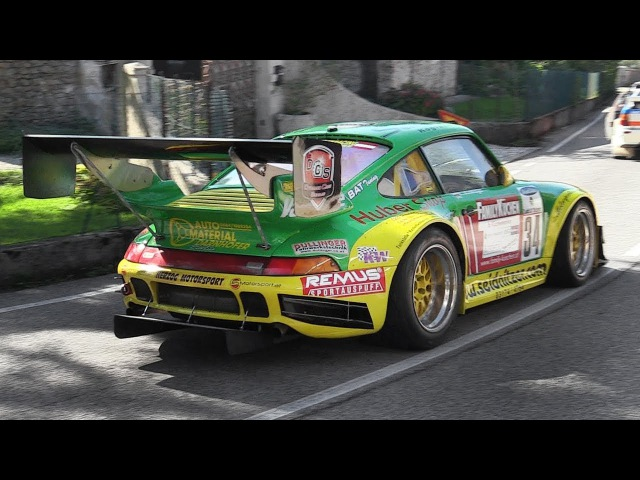 Porsche 993 3 5L Bi Turbo Bergmonster in action at Cividale Castelmonte hillclimb