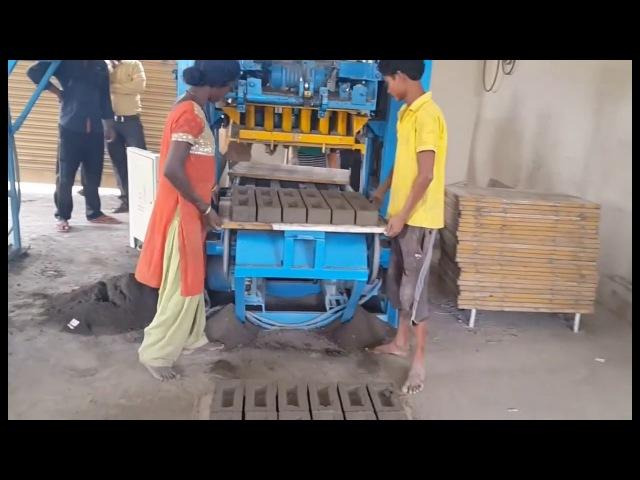 QT4 24 small semi automatic concrete brick production line, cement block making machine in India