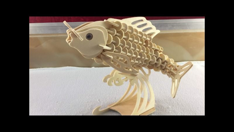 3D wooden Puzzle, How to assembly the wooden carp