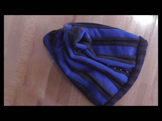Шьем женскую шапку из свитера и кусочков драпа