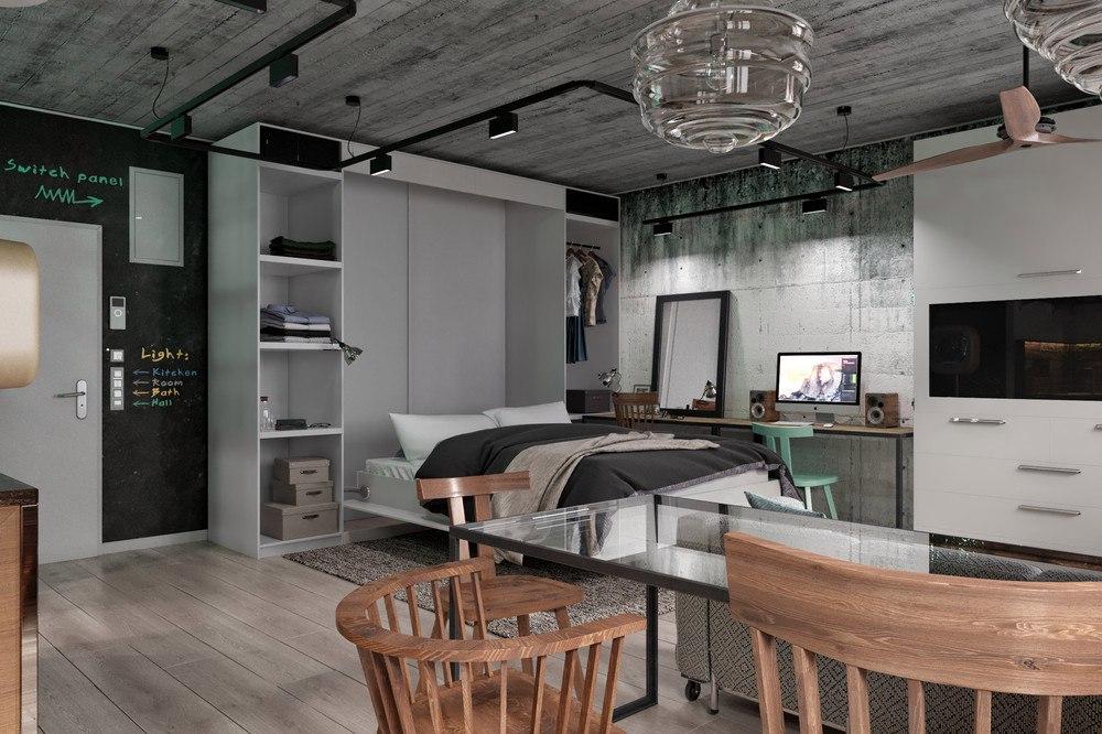 Проект квартиры 41,5 м в стиле лофт.