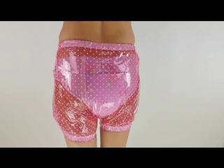 Extra Generous Plastic Pants Wide Elastics Trans Pink Polkadots - ABDLfactory Slowmotion Preview