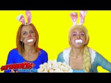 ?CHUBBY BUNNY CHALLENGE? Elsa VS SuperGirl eat Marshmallow & have funny faces in real life!)