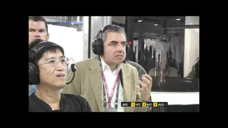 Mr Bean alias Rowan Atkinson face Massa and Hamilton - Indian GP F1 2011