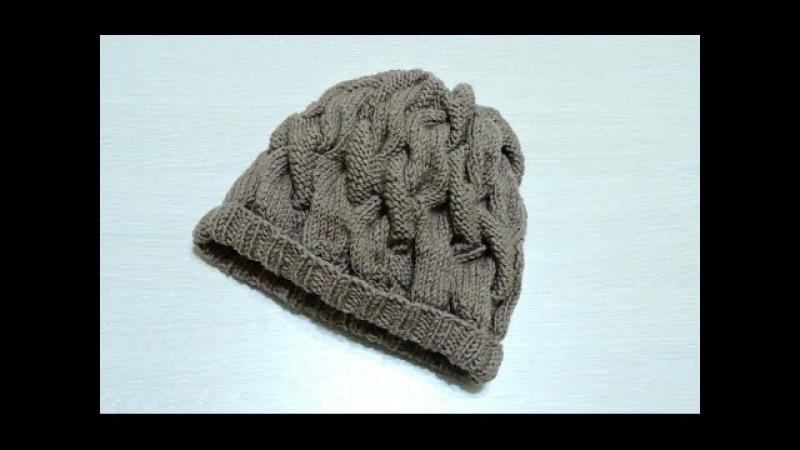 Женская объемная шапка спицами с узором косы. Вязание. Вязание спицами