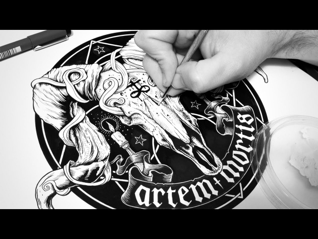 Inking process with brush and pens | Timelapse | Artem Mortis