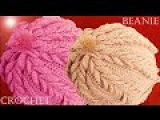 Como tejer a Crochet o Ganchillo gorro boina en punto de hojas dobles en relieve