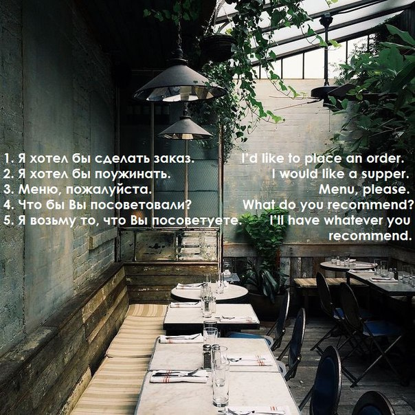Do you know how to make an order?)or ask something in a restaurant?)