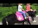 доча катается на пони по кличке Принц