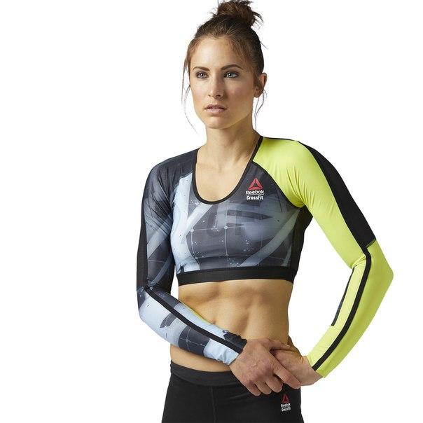 Укороченная компрессионная футболка с длинным рукавом Reebok CrossFit
