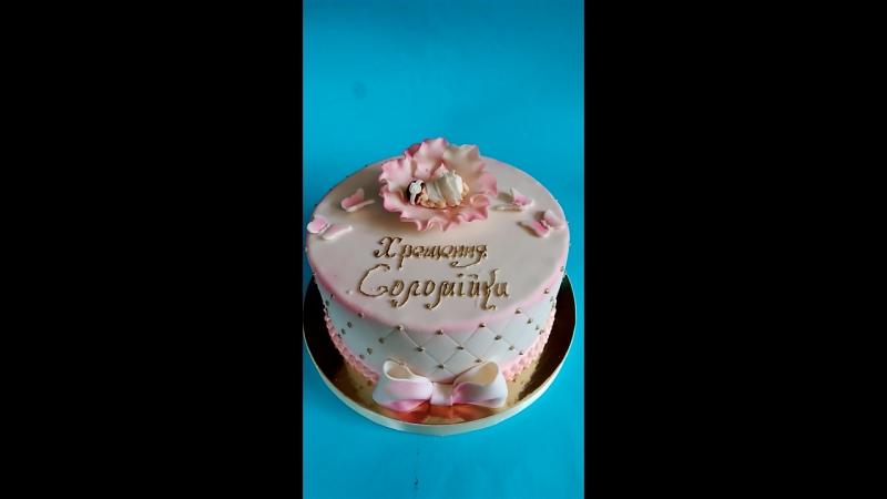 Тортик на Хрещення маленького янголятка
