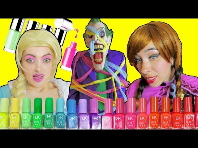 💅😁NAIL POLISH CHALLENGE😁💅 Frozen Elsa VS Anna and Spiderman VS Joker - superheroes in real life