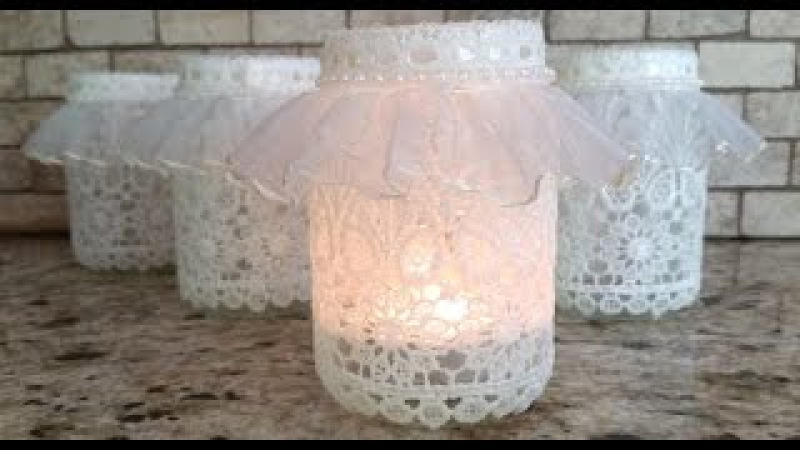 DIY Lace Votive Candleholder vr to sweet milk shoppes Craft While Recycling Challenge