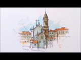 A Water Brush Demonstration. line and wash watercolour of a Cathedral in Portugal