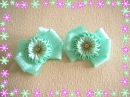 Бантики Мятные зефирки/Bows Mint marshmallows/Kanzashi/DIY/Tutorial
