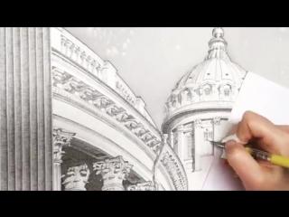 Как нарисовать Казанский собор