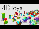 4D Toys a box of four-dimensional toys, and how objects bounce and roll in 4D