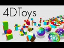 4D Toys a box of four dimensional toys and how objects bounce and roll in 4D