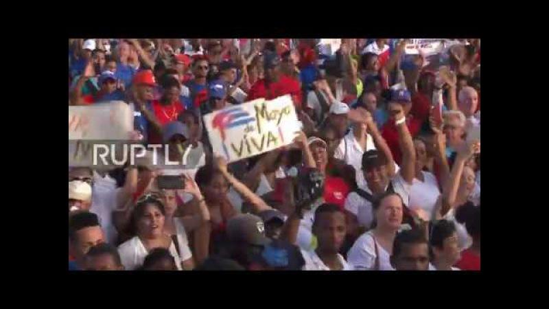 Куба: Рауль Кастро проводит празднование Международного Дня Работников в Гаване.