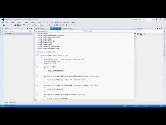 (Part 3) Visual Studio Winform Tic Tac Toe Tutorial Example (C)