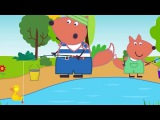 Fox Family For Kids - Go Fishing - Fox Baby In Toilet Playing Game &amp Foget A Friend Out Side