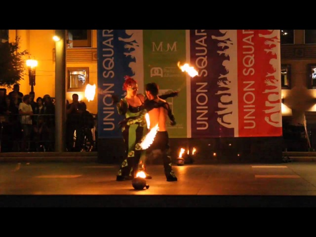 Fire Poi Duet GlitterGirl The Amazing Zihni, Act 34 2012 Fire Dancing Expo, San Francisco