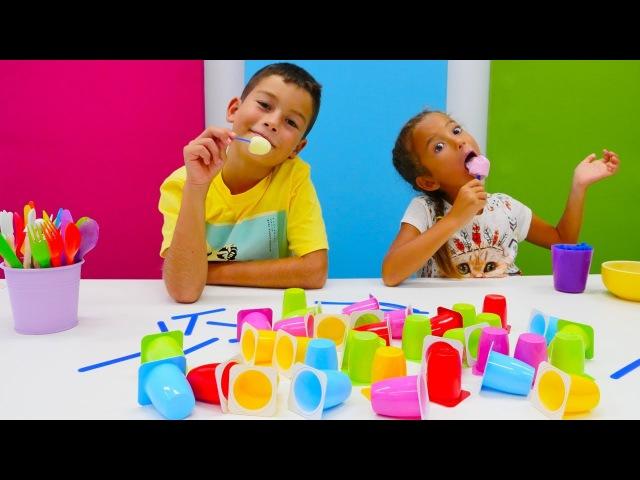Eğiticivideo. Ceylin ve Eren dondurma yaptı. Yemek yap ve oyna! kızerkekçocukoyunları