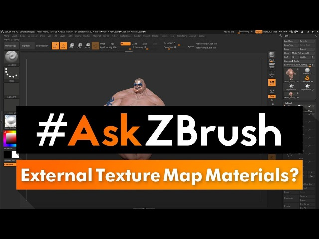 """AskZBrush: """"How can I apply an external Texture Map to a Subtool and keep the existing Materials?"""""""