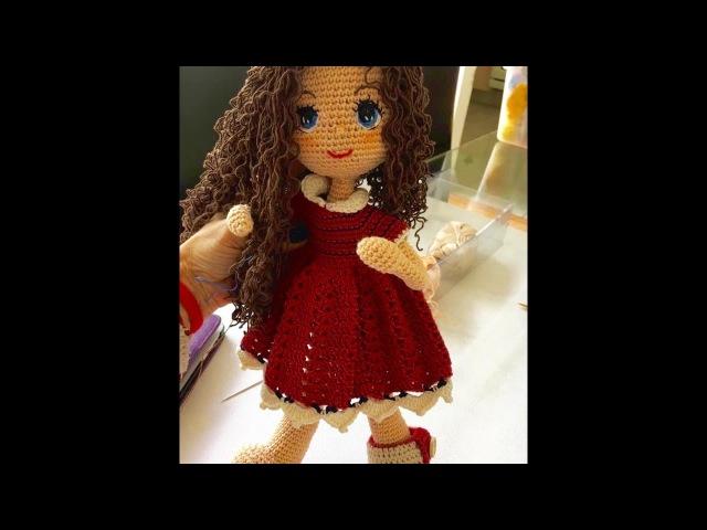 Como poner pelo y empezar a tejer vestido de muñeca Carolina By Petus SEXTA PARTE 6 8