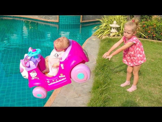 Bad baby Кукла Катя утопила машину в бассейне Crying Baby driving car crash in pool Toys video