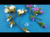 Ribbon flowers:simple&nice/Flores de cintas:bonito&sencillo/Цветы из лент:просто и красиво.МК