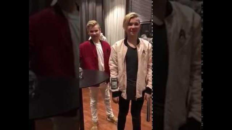 Marcus och Martinus efter konserten Göteborg