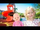 Cute Girl and Baby Doll Play on the Outdoor Playground Nursery Rhymes Songs Pretend Play