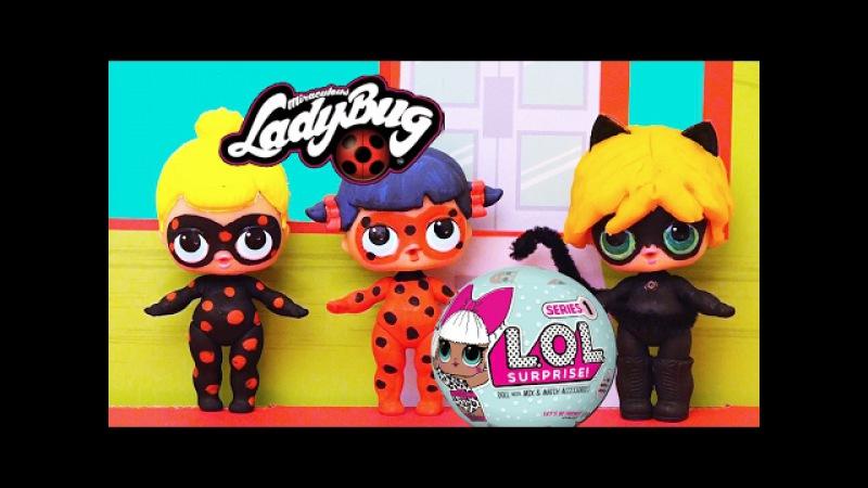 Miraculous Toys - Ladybug, Cat Noir Antibug Turn into L.O.L Toy Surprise Custom Dolls