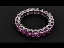 Шикарное кольцо с розовыми сапфирами и бриллиантами