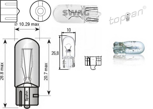 Лампа накаливания, стояночные огни / габаритные фонари; Лампа накаливания, габаритный огонь для AUDI CABRIOLET (8G7, B4)