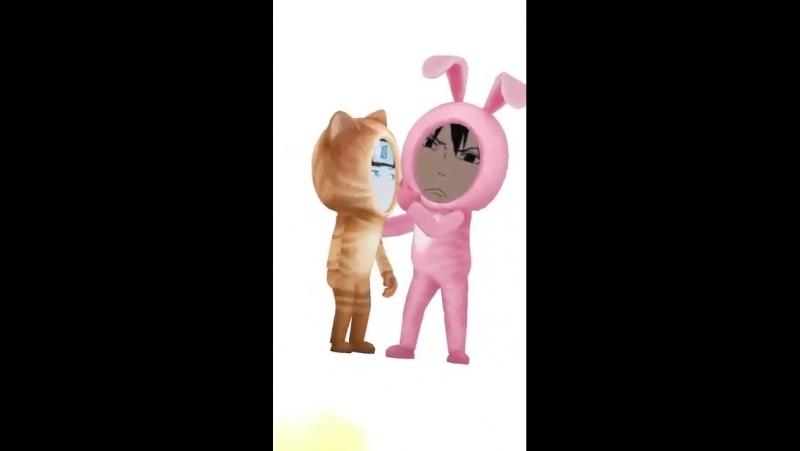 я и олег пощечина игра кот кролик розовый желтый обида печаль сэд хмурый саске наруто три полоски вертикальная пощечина 10 фильм