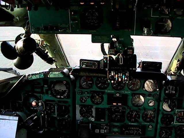 Ту-134 запуск двигателей и взлет (вид из кабины)