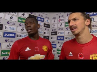 Swansea v Man Utd 1-3 - Zlatan Ibrahimovic & Paul Pogba Post Match Interview