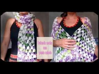 Bufanda/ Chal a crochet con punto calado muy fácil