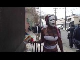 Half Naked Lady With Painted Face Walking Down San Julian - StreetWiseDTLA