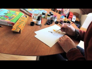 Axel Scheffler sketches Pip and Posy while talking about his new series for children