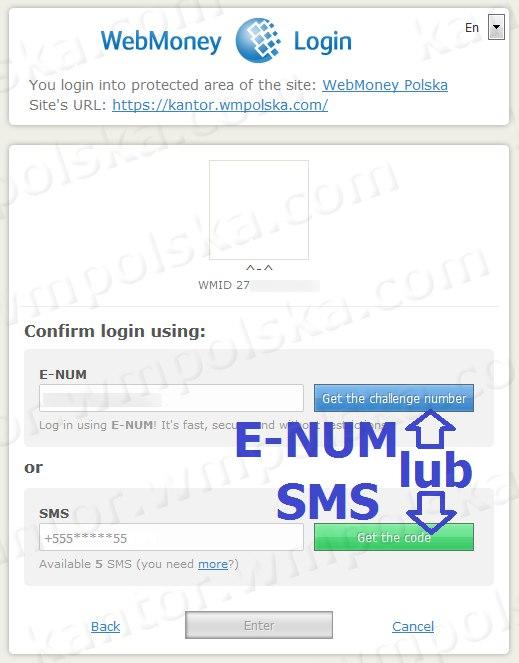 Potwierdz logowanie przez E-NUM lub SMS, jeśli masz włączone potwierdzenie autoryzacji