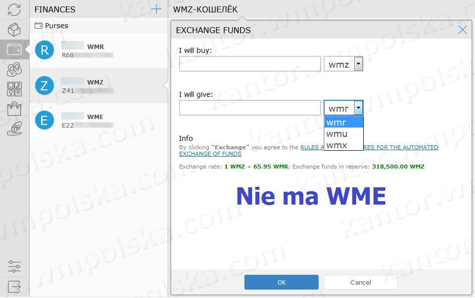 Nie jest dostępny kierunek WME – WMZ