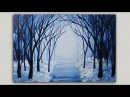 Acrylic Painting Snowy Winter Forest Path