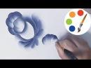 Gzhel, Painting the blue flower step by step, irishkalia