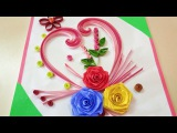 Paper Quilling  How To Make Beautiful Rose Flower Design Greeting Card  Paper Quilling Art