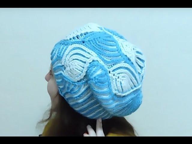 Женская шапка Морозные узоры Бриошь спицами. Часть 2 Brioche Stitch Women's hats knitting