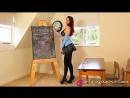 Ученица у доски в мини-юбке и колготах. Kara Carter