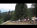 Тур Польши последний этап Фрирайдер Шимон Годжек летит над пелотоном